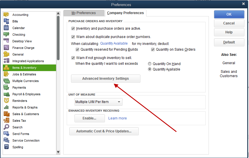 advanced inventory settings in quickbooks enterprise